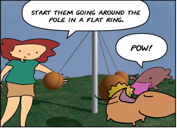Our friends have relocated to a tetherball court. | Bridget: Start them going around the pole in a flat ring. | Bridget, Meg and Zeke all hit tetherballs counter-clockwise around a tetherball pole. | Zeke: Pow!